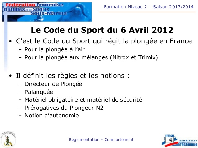 Code du sport plongée 2012