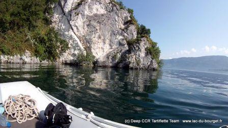 Le site de plongée de Grande Cale au lac du Bourget
