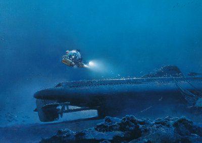 """Reproduction de la découverte en 1995 par Henri G. Delauze, aux commandes du """"Rémora 2000"""" de la Comex de l'épave du sous marin Protée. Cette toile a été commandée par la Comex à l'artiste Michaël Johnson"""