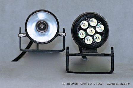 Comparaison entre phare de plongée LED Light for me 7 XRE VS phare HID