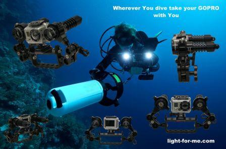 Système éclairage vidéo sous-marine pour Gopro